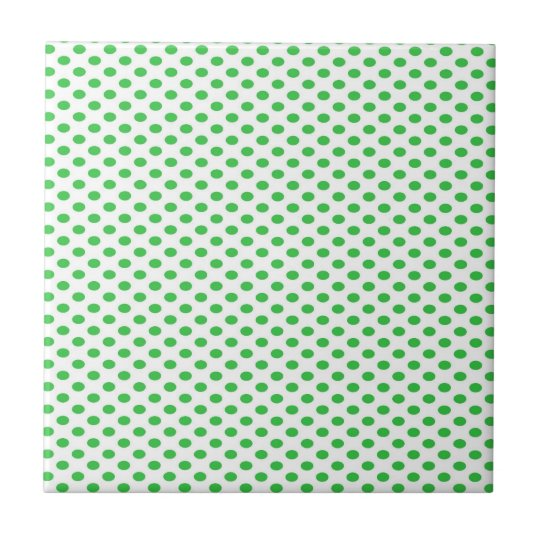 Green Polka Dots on White Small Square Tile