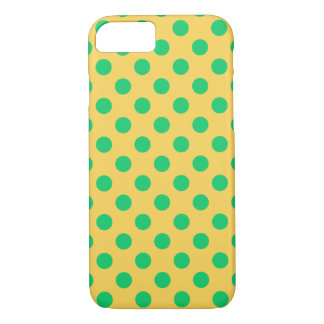 Green polka dots on yellow iPhone 8/7 case