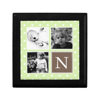 Green Polka Dots Pattern Photo Collage Small Square Gift Box