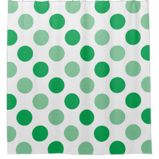 Green polka dots pattern shower curtain