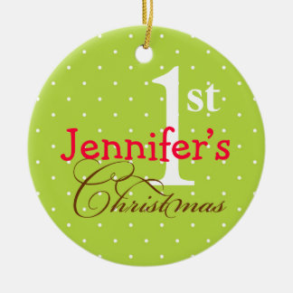 Green polka dots pink name cute baby first holiday christmas ornament