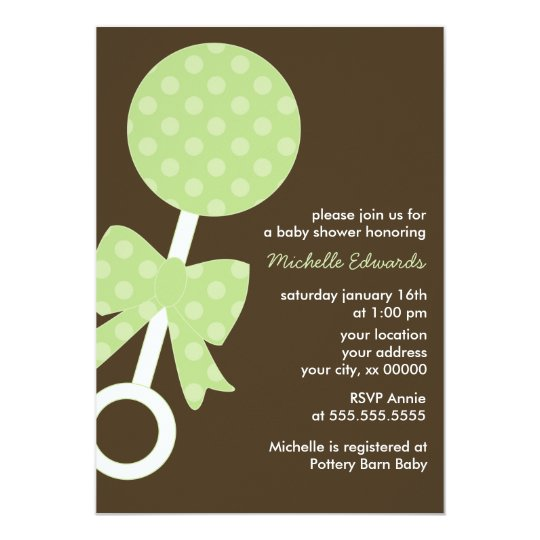 Green Polka Dots Rattle Baby Shower Card