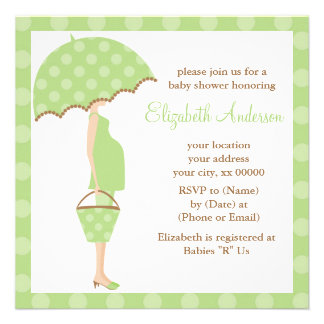 Green Polka Dots Umbrella Mom Baby Shower Personalized Announcements