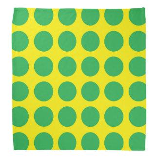 Green Polka Dots Yellow Bandana