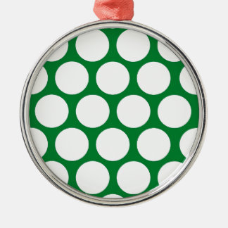Green Polke Dot Silver-Colored Round Decoration