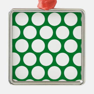 Green Polke Dot Silver-Colored Square Decoration