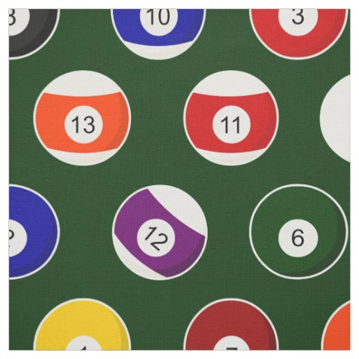 Green Pool Ball Billiards Pattern Large Repeat Fabric