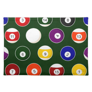 Green Pool Ball Billiards Pattern Placemat