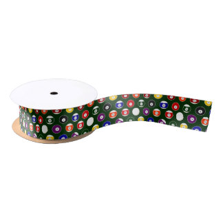 Green Pool Ball Billiards Pattern Satin Ribbon