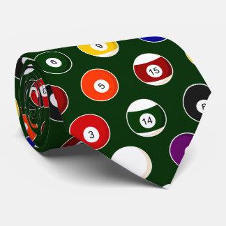Green Pool Ball Billiards Pattern Tie