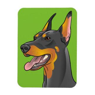 Green Pop Art Doberman Pinscher Fridge Accessory Magnet