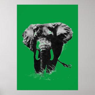 Green Pop Art Elephant Poster