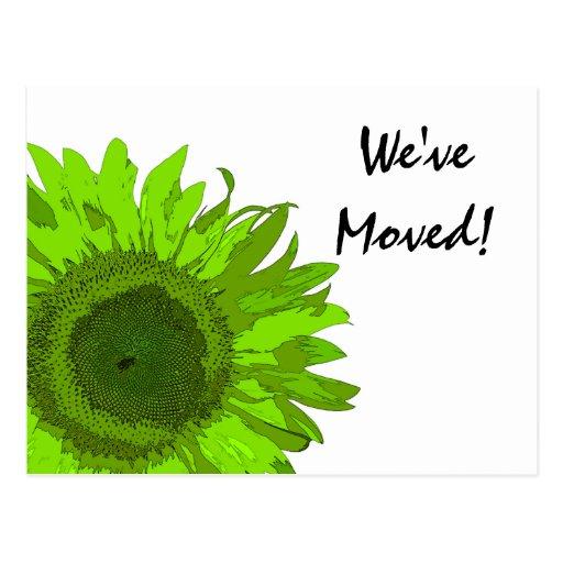Green Pop Art Flower Change of Address Postcard