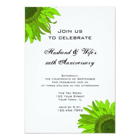 Green Pop Art Flower Wedding Anniversary Party Card