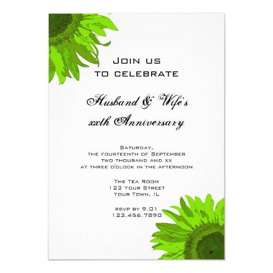 Green Pop Art Sunflower Wedding Anniversary Party Card