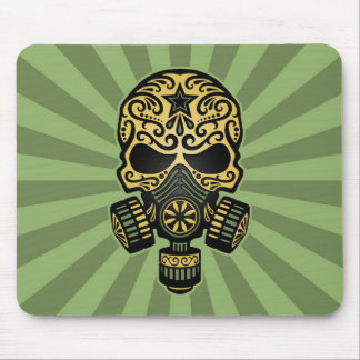 Green Post Apocalyptic Sugar Skull Mouse Pad