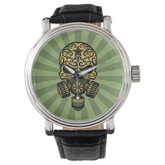 Green Post Apocalyptic Sugar Skull Watch
