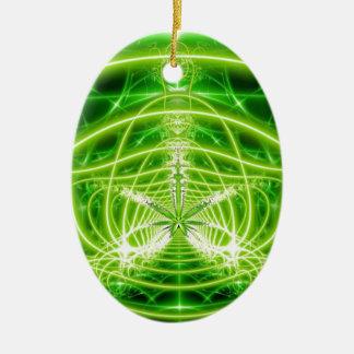 Green Pot Leaf Fractal Christmas Ornament