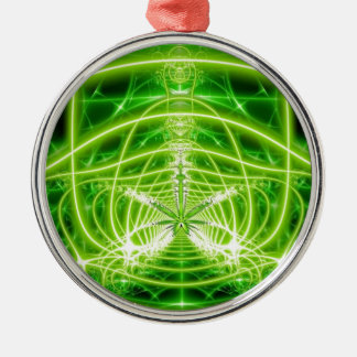 Green Pot Leaf Fractal Christmas Ornament