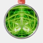 Green Pot Leaf Fractal Silver-Colored Round Decoration