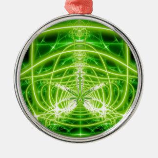 Green Pot Leaf Fractal Silver-Colored Round Decoration
