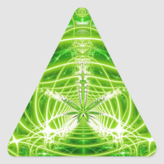 Green Pot Leaf Fractal Triangle Stickers