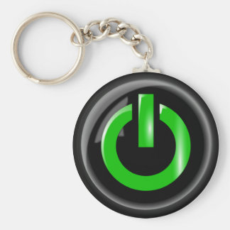 Green Power Button Keychain