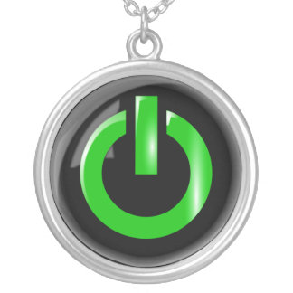 Green Power Button Necklace