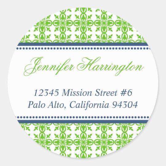 Green preppy custom fancy return address label