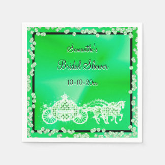 Green Princess Coach & Horses Bridal Shower Disposable Napkin