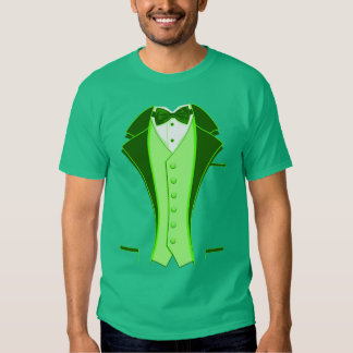 Green Print Tuxedo Tee Shirts