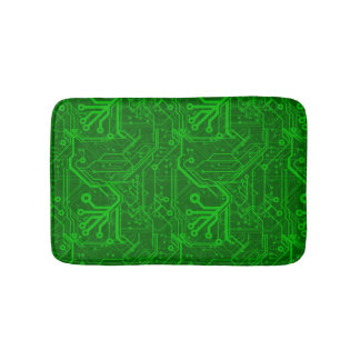 Green Printed Circuit Board Pattern Bath Mat