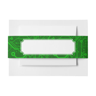 Green Printed Circuit Board Pattern Invitation Belly Band