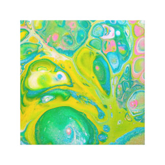 Green Psychedelic Acrylic Pour Art Canvas Print