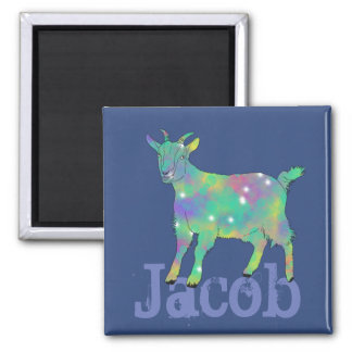 Green Psychedelic Art Goat Design with Your Name Magnet