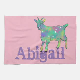Green Psychedelic Art Goat Design with Your Name Tea Towel