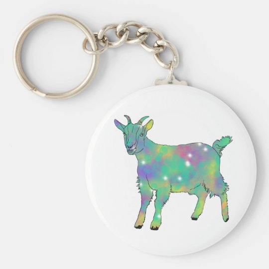 Green Psychedelic Art Goat Funny Animal Design Key