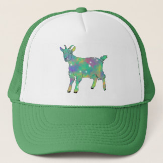 Green Psychedelic Art Goat Funny Animal Design Trucker Hat