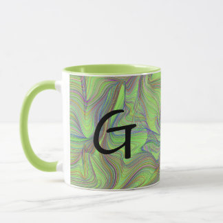 Green Psychedelic Swirl with Initial Mug
