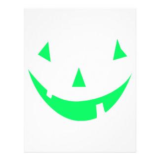 Green Pumpkin Face Halloween Design Custom Flyer