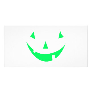 Green Pumpkin Face Halloween Design Picture Card