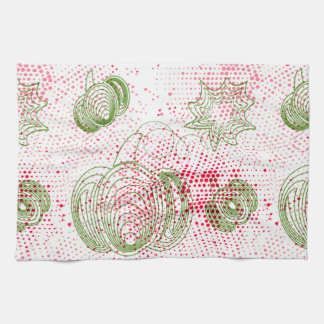 Green pumpkins with pink grunge halftones tea towel