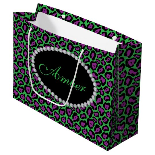 Green & Purp Leopard Diamond Monogram Lg Gift