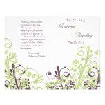 Green & Purple Abstract Floral Wedding Program