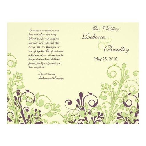 Green & Purple Abstract Floral Wedding Program Flyers