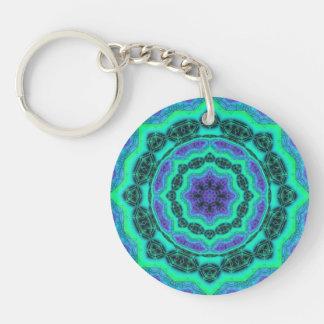 Green, Purple And Blue Mandala Pattern Key Ring
