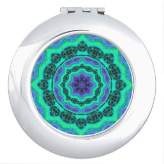 Green, Purple And Blue Mandala Pattern Mirrors For Makeup