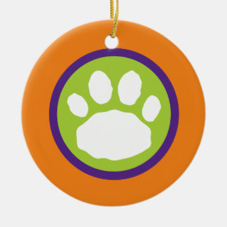 Green, Purple and Orange Paw Print Halloween Christmas Ornament