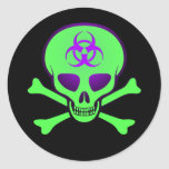 Green-Purple Biohazard Skull Sticker