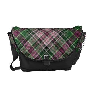 Green purple black tartan courier bags
